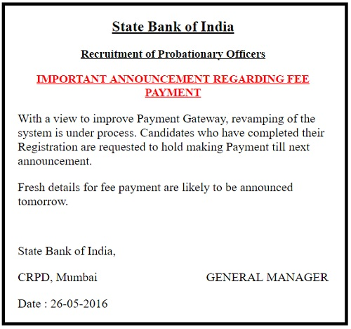 SBI PO Online Fee Payment 25 May 2016