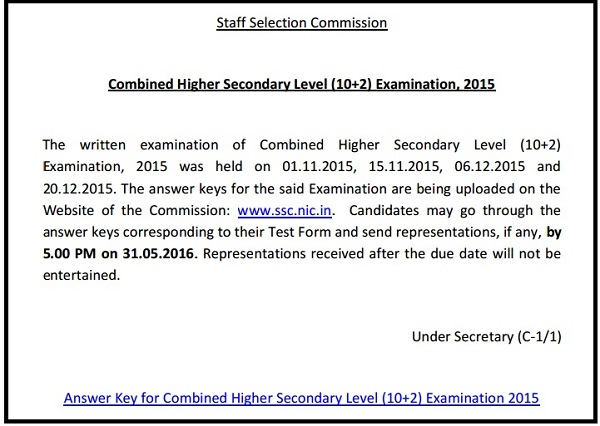 SSC CHSL Answer Key 2015-16 for LDC DEO Post