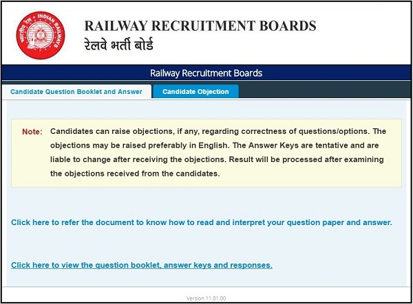 RRB NTPC Question Paper Answer Key