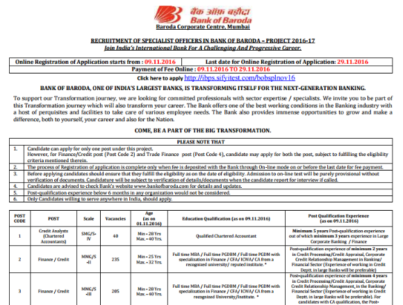 Bank of Baroda SO Notification Out: Complete Information