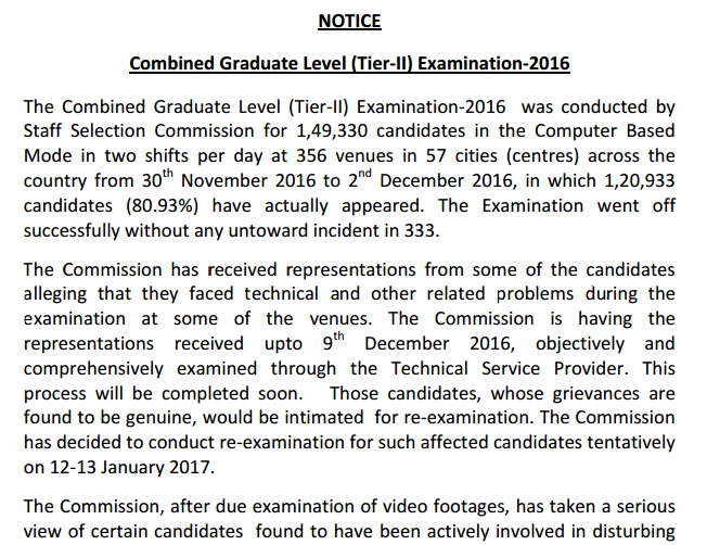 SSC CGL Notice