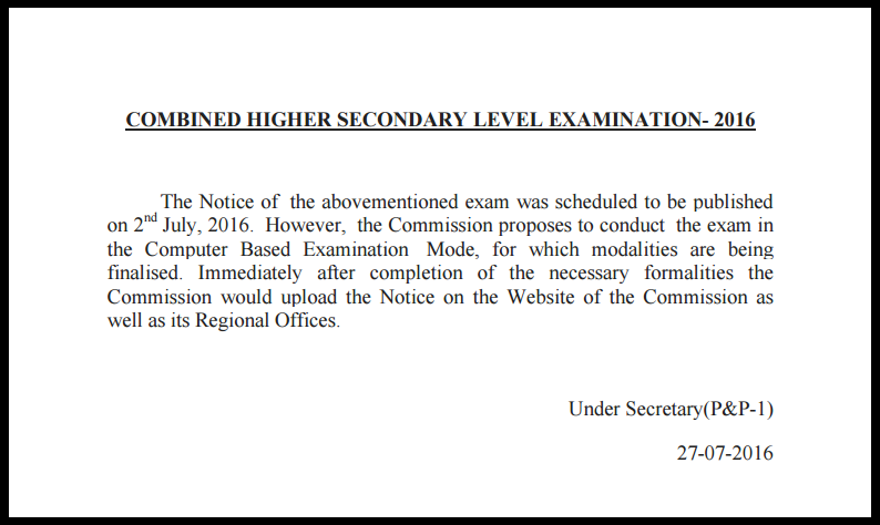 SSC CHSL 2016 Exam Notification New Pattern
