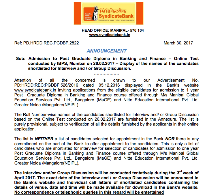 Syndicate bank official notification