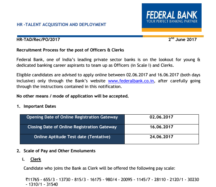 Federal Bank Recruitment