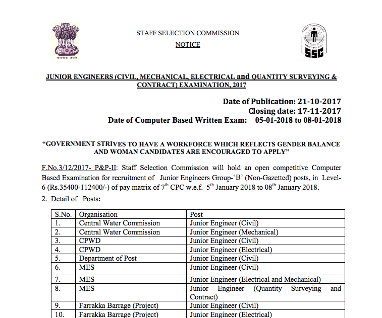 ssc je notification
