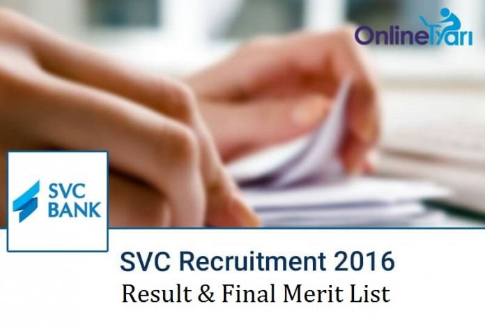 SVC Bank Result 2016 for CSR and CSO Post