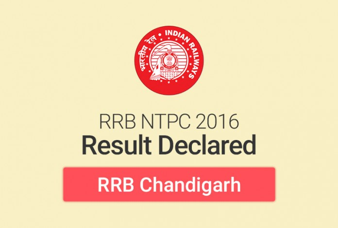 RRB NTPC Result 2016 for Chandigarh: Check Merit List