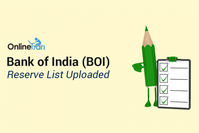 Bank of India (BOI) Reserve List Uploaded : Check Here