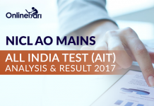 NICL AO Mains All India Test (AIT) Analysis & Result 2017