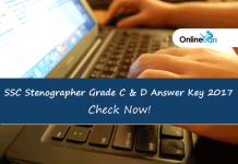 SSC Stenographer Answer Key 2017 Released: Check Now!