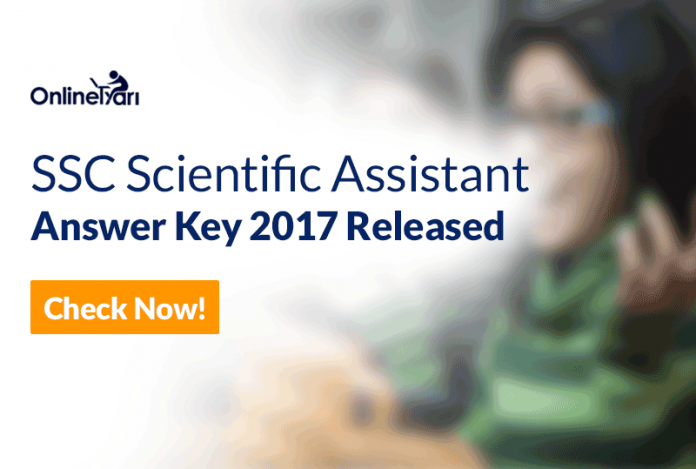 SSC Scientific Assistant Answer Key 2017 Released: Check Now