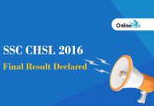 SSC CHSL Final Result 2016 Declared