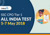 SSC CPO Tier 1 All India Test (AIT) | 5-7 May 2018