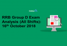 RRB Group D Exam Analysis 2018 (All Shift): 16th October