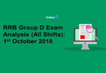 RRB Group D Exam Analysis 2018 (All Shift): 1st October