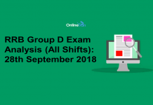 RRB Group D Exam Analysis 2018 (All Shift): 28th September