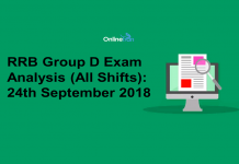 RRB Group D Exam Analysis 2018 (All Shift): 24th September