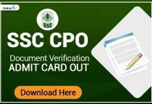 SSC CPO 2017 Document Verification Admit Card Out:Download Now!